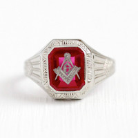 Vintage Mason Ring - 10k White Gold Created Ruby Art Deco Masonic OB Ostby Barton Signet - Men's 1930s Size 9 3/4 Freemason Fine Jewelry