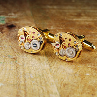 Steampunk Cufflinks Vintage LUCIEN PICCARD Gold Luxury Watch Movement Mens Gear Cuff Links by Steampunk Vintage Design