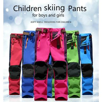 Children Rain Pants Waterproof pants kids fleece lined pants winter hunting fishing skiing camping pants for girls boys skiinng