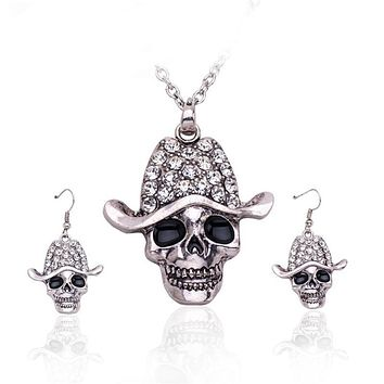 Rhinestone 💀 Skull Necklace Earrings Jewelry Set
