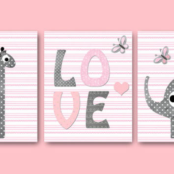 Giraffe Nursery Decor Elephant Nursery Decor Kids Room Decor Kids Art Baby Girl Room Decor Baby Girl Nursery Art set of 3 8x10 Pink Gray