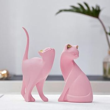 Elegant Resin Cats In Pink Figurine Statues