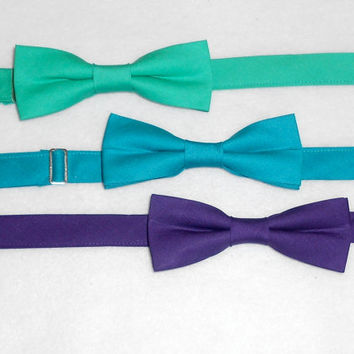 Teal, Aqua, or Purple Bowtie - Men's, Teen, Tween, Youth
