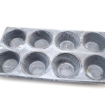 Vintage Graniteware Muffin Tin, 8 Cup Muffin Pan, Primitive Farmhouse Granite Ware Muffin Tin, Mottled Gray Enamelware, c 1920s-1930s