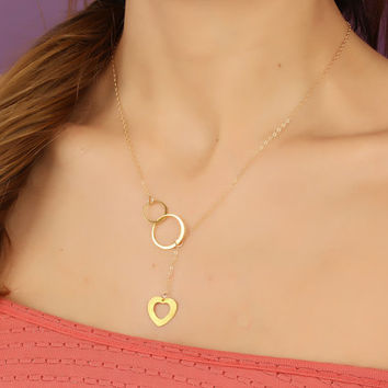 "Gold infinity necklace, gold lariat necklace, heart necklace, bridesmaid necklace, love necklace, eternity necklace, wedding, ""Meliboea"""