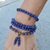 Compassion, Lapis Lazuli Gemstone 108 Bead Mala Convertible Necklace