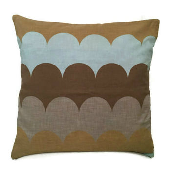 Geometric Cushion Cover - Brown and Blue Pillow Case - Trending Items - Decorative Throw Pillow - Modern Accent Pillow 16x16 - Housewarming