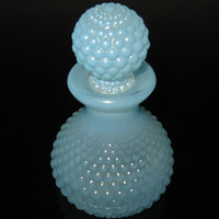 Hobnail Blue Glass Perfume Apothecary Bottle Decanter Ball Stopper
