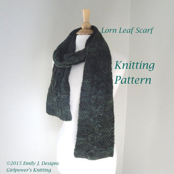 Lorn Leaf Scarf Knitting Pattern, Leaves Design, Malabrigo Worsted Yarn, Mens Scarf Pattern, Womens Scarf Pattern