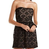 Strapless Lace Skater Dress by Charlotte Russe