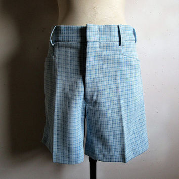Vintage 1970s Mens Shorts Zellers Blue White Double Knit Check Guys 70s Shorts 36W