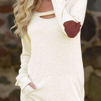 Apricot Patchwork Cut Out Pockets Round Neck Long Sleeve T-Shirt