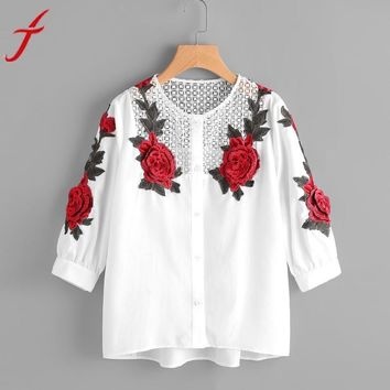 2017 Embroidered Lace Blouse Women Autumn Hollow Out White Blouse Shirts Fashion Lady Long Sleeve Rose Floral Blusas Female
