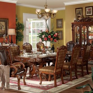 7 pc Dresden collection cherry oak finish wood double pedestal dining table set with fabric and leather like vinyl upholstered chairs with decorative carved backs