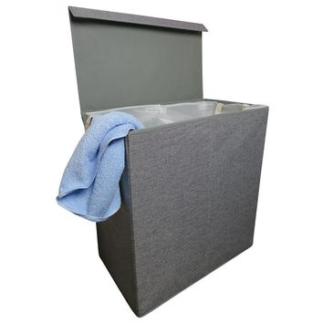 Evelots Dirty Laundry Hamper-2 Removable Bags-Up to 4 Load-Lid-No Smell-Foldable