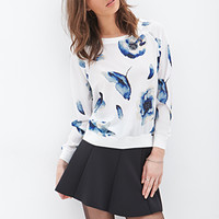 FOREVER 21 Floral Chiffon Sweatshirt White/Blue