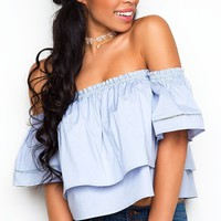 No Secrets Off The Shoulder Top - Blue