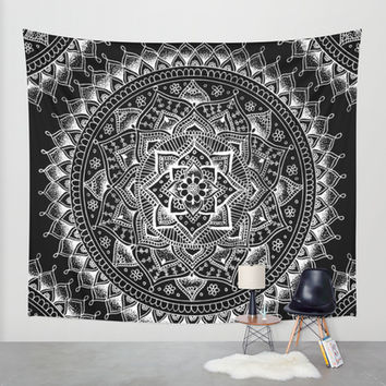 White Flower Mandala on Black Wall Tapestry by Laurel Mae