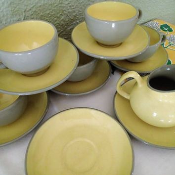 Mid Century Harkerware dinnerware Golden Dawn- 15 piece set, 5 sets cups and saucer, 2 extra saucers and 1 creamer, 2 berry bowls