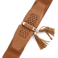 FAUX LEATHER WEAVING DETAIL ELASTIC BELT WITH TASSEL