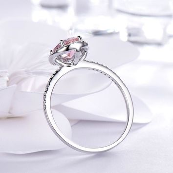 925 Sterling Silver Oval Classic Pink Created Sapphire Rings