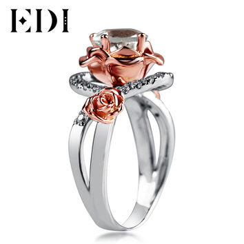 EDI Natural Rose Moissanite Diamond 14k 585 Two-tone Gold Engagement Ring For Women Round Unique Design Customized Fine Jewelry