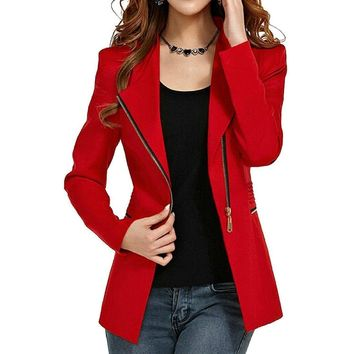 Women's Sexy Red Side Zip Work Blazer Jacket