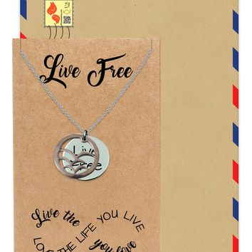 Maycel Birds Live Free Pendant Necklace Inspirational Quote Greeting Card