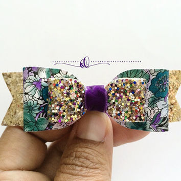 Girls floral leather bow with rose gold glitter, purple and green hair Accessories, hair clips, Leather Bow, headbands, Baby hair