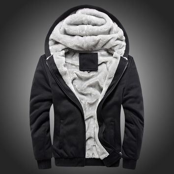 Solid Color 2016 New Winter Plus Velvet Men Hoodies Sweatshirts Hooded Jacket Thicken Warm Casual Mens Cardigan Big Size 5XL