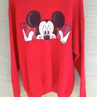 Vtg 90s MIckey Mouse RED Sweatshirt Slouchy Oversized Unisex Extra Large XL XXL