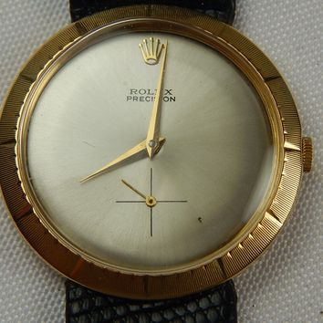 1949 MENS 18K YELLOW GOLD ROLEX PRECISION 36 MM 18 JEWELS DATE MARK 646K