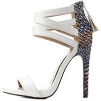 White Combo Tribal-Weave Strappy Ankle Cuff Heels by Charlotte Russe