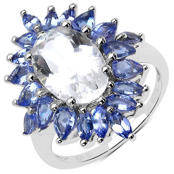 5.88 Carat Genuine Crystal Quartz & Tanzanite .925 Sterling Silver Ring