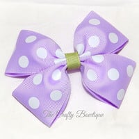 Lavender & White Polka Dot ~ Boutique Hair Bow ~ Spring Hair Bow ~ Bow for Headbands ~ Big Hair Bow ~ 4 inch Bow ~ Easter Hair Bow