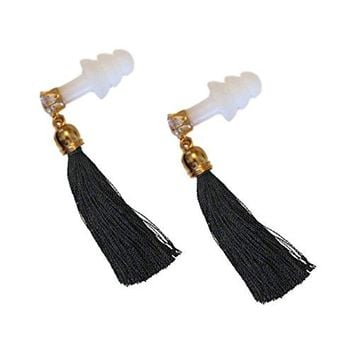 BLACK TASSEL RHINESTONE EARPLUGS
