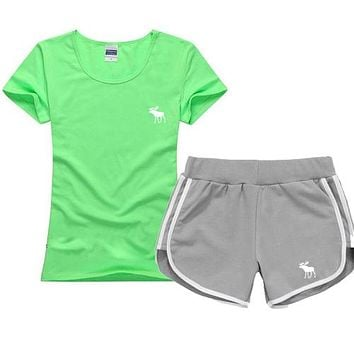 Trendsetter Abercrombie&Fitch Women Men Casual Sport T-Shirt Top Tee Shorts Set Two-Piece