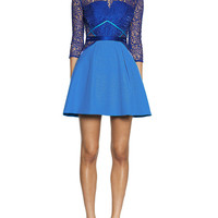 Blue Sheer Lace High Neckline Mini Flare Dress