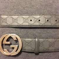 Pre-owned GUCCI Men's classic gray gucci signature leather belt ITALY 38/95