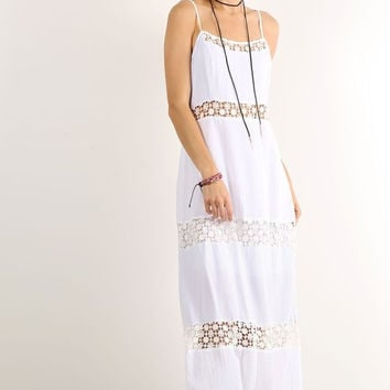 Ava Lace Insert Polka Dot Maxi Dress