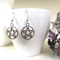 Silver Pentagram Earrings, Pentacle Earrings, Wiccan Earrings, Wicca, Boho, Protection Earrings, Five Elements, Spirit  Earth Air Fire Water