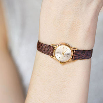 Gold plated woman's watch Glory, little lady wristwatch, classy woman wristwatch gift, retro woman watch unique, genuine leather strap new