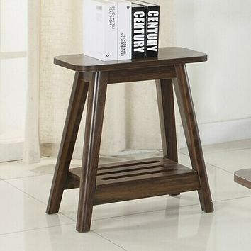 Wildon collection chestnut wood finish mid century modern chair side end table