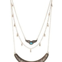 Silver Etched Boho Layered Necklace by Charlotte Russe