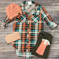 What I like about you Plaid Flannel Top: Brown