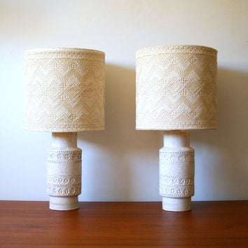 Pair of Aldo Londi Rimini White Lamps for Bitossi - Made in Italy