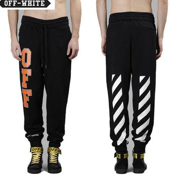 OFF WHITE Autumn Winter Fashion Women Men Casual Print Drawstring Sport Pants Trousers Sweatpants