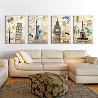 4 Panel European City Decorative Canvas Print