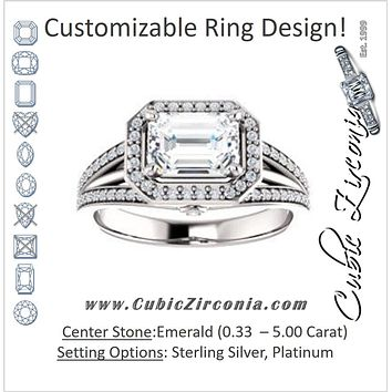 Cubic Zirconia Engagement Ring- The Hanna Jo (Customizable High-set Emerald Cut Design with Halo, Wide Tri-Split Pavé Band and Round Bezel Peekaboo Accents)