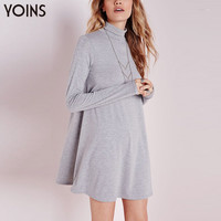 YOINS New Arrival Spring Vestidos Femininos Women Long Sleeve High Turtle Neck Loose Casual Flared Swing Mini Solid Ladies Dress